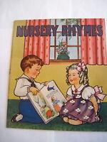 "Adorable 1940-50's Vintage ""Nursery Rhymes"" Linen Cloth Children's Book *"