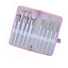 Make Up Brushes Unicorn Kit Foundation Eyeshadow Different Sizes 10Pcs w/ Case
