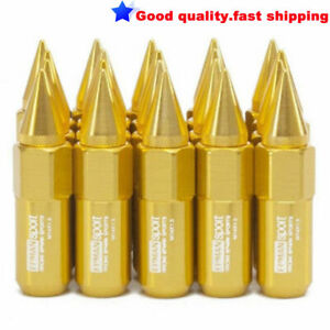 20PCS M14X1.5 Spiked Extended 60MM Aluminum Tuner Lugs Nuts Wheels/Rims Gold