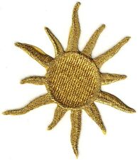 "4 1/4"" Celestial Metallic Gold Sun embroidery patch"
