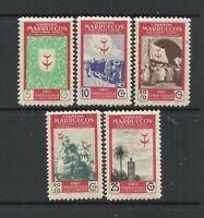 Complete set stamps MNH Spanish Morocco 1949 (PRO TUBERCULOS), EDIFIL Nº 307/311