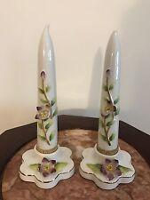 Vintage Porcelain Candles Matching Vintage Candlesticks Pair Floral Design Japan