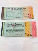 Disneyland Ticket Books  B C D Tickets 1960s Collectible Vintage Lot Of 2