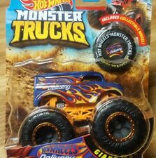 Hot Wheels Monster Trucks Giant Wheels Dairy Delivery w/ Flames Diecast 1:64 New