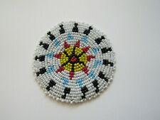 """Beaded Rosette 3"""" Round Leather Sewing Regalia Crafting Tribal Native Design 5B"""