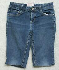 "Blue Girls Capri Jeans 10 Ten 26"" Waist X 10 Inseam Red Camel Ramie Blend M21"