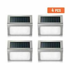 4 Pack Stair Light Led Solar Power Outdoor Garden Pathway Step Deck Wall Lamp