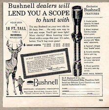 1956 Print Ad Bushnell Rifle Scopes 18 Ft Tall Deer Pasadena,CA