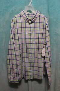#2    NEW⚜Boy's Printed SS button down Shirt by Wonder Nation size L ~pink/lime