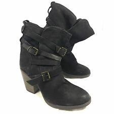 Steve Madden YALE Belted Ankle Boots Black leather Sz 10 M GUC