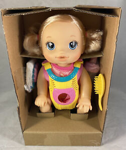 Baby Alive Baby Go Bye Bye Blonde Hair Doll W/Baby Doll Carrier Frustration Free