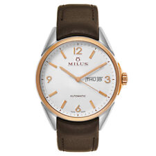 New $2500 MILUS Watch Automatic Day/Date 40 mm  St. Steel/18k Gold Swiss Made