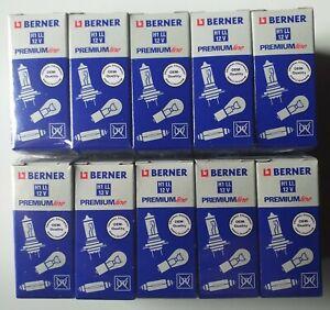 Lot 10 ampoules halogènes BERNER PREMIUM LINE H1 LL 12V 55W