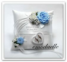 Personalized wedding ring cushion pillow with rings holder box . 30 color,,