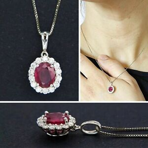 18ct 18k Solid White GOLD Natural Genuine RUBY and DIAMOND Halo Pendant Necklace