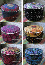 "22"" Indian Pouf Ottoman Cotton Mandala Pouff Footstool Floor Pillow Covers Throw"