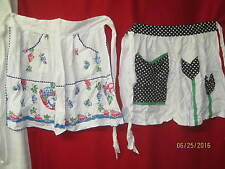 Vintage cotton 1950's  2 Aprons appliqued Tulips and blue & red Fruit Baskets