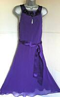 HOBBSpurple silk chiffon sleevelessSpecial 0ccasion dress jewelled neckline10/12