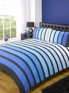 Blue Stripes King Size Bedding Set Duvet Quilt Cover And Pillowcases