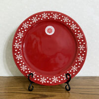 """Snowflake Dinner Plate Red 11"""" Dish Holiday Christmas Hand Painted Portugal"""