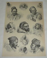 1876 magazine engraving ~ ALGERIAN TYPES