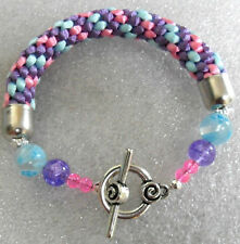Kumihimo bracelet 10mm thick, with beads - blue,pink,lilac 6.5""