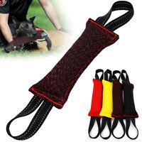 2 Handles Puppy Dog Bite Tug Chew Toys Jute Training Builder Bite Suit Fabric K9