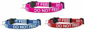 Cat Collar DO NOT FEED In Red Pink Blue Safety Release & Wildlife Bell Included
