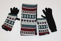Women's Muk Luks Winter Knit Reversible Eternity Scarf, Gloves, and Arm Warmers