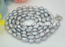 Gray Baroque Pearl Necklace 35 '' Natural Huge 8-9Mm South Sea Genuine Silver