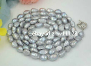 NATURAL HUGE 8-9MM SOUTH SEA GENUINE SILVER GRAY BAROQUE PEARL NECKLACE 34''