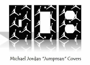 "Michael Jordan ""Jumpman"" Light Switch Covers Basketball NBA Home Decor (White)"