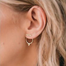 Womens Silver Simple Round Ear Stud Drop Rings Gold Small Hoops Earrings Jewelry