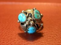 Vintage Southwestern Sterling Silver 3 Stone Turquoise Domed Ring 8.5