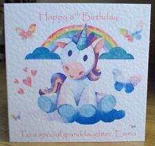Unicorn Cloud Personalised Birthday Card Granddaughter Daughter Niece