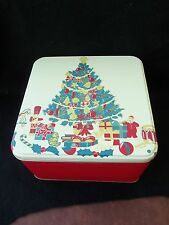 Vtg Christmas Metal Tin!  DECORATED TREE!  TOYS!  RED SIDES!  SQUARE!