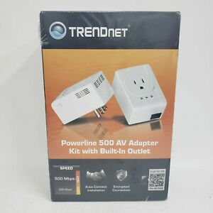 TrendNet Powerline 500 AV Adapter Kit with Built In Outlet TPL-407E2K/A