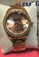 Betsey Johnson Iconic Jeweled Owl Rose Gold Crystal Ladies Watch NEW  BJ00048-76