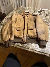 Vintage Avirex Type A-2 Leather Flight Jacket Brown Men's XL 80s Vtg WW2 Style