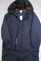 Cole Haan Tech Down Parka Coat With Faux Fur Trim Medium Navy