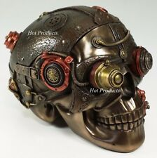TRINKET BOX STEAMPUNK Human Skull Statue Bronze Color & Leather Texture Decor