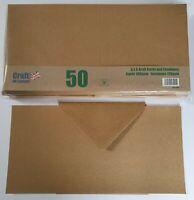 "6"" x 6"" Brown Kraft Cards & Envelopes Pack Of 50 For Cardmaking"