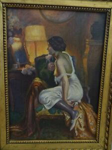 huile sur toile art deco femme sein nu canape signe a identifier