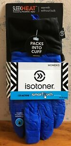Isotoner Active Sleek Heat Smartouch Spark Blue Women's Gloves Non Slip NEW