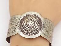 MEXICO 925 Sterling Silver - Vintage Mayan Sun Calendar Cuff Bracelet - BT1525