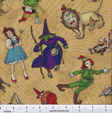 Wizard of Oz CHARACTER TOSS TAN Wilmington Magic of Oz Fabric By the FQ - 1/4 YD