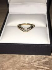 H Samuel 9ct Yellow Gold 0.33ct Wedding Diamond Ring Wishbone style size O