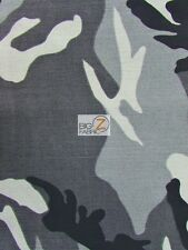"100% COTTON CAMOUFLAGE DENIM FABRIC - Gray/Light Gray/Charcoal/Black  - 60"" BTY"