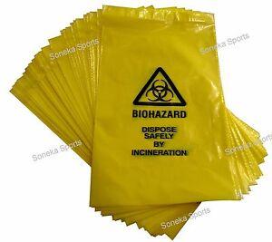 Yellow Clinical Waste Bio Hazard Disposal Incineration Bags 20cmx35cm 42cmx64cm