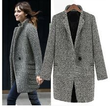 Ladies Trench Coat Womens Jacket Classic Wool Elegant winter Outerwear Size 6-22
